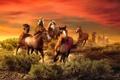 Картинка животные, кони, живопись, Roberta Wesley, багровое небо, табун лошадей, The Wild Bunch