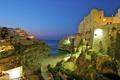 Картинка море, city, скалы, вечер, Италия, Italy, архитектура.