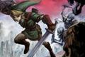 Картинка скалы, эльф, меч, битва, парень, щит, скелеты