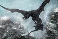 Картинка арт, снег, крылья, монстр, дракон