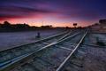Картинка закат, город, железная дорога