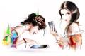 Картинка взгляд, шатенки, телефоны, нарисованные девушки