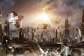 Картинка город будущего, арт, небоскрёбы, здания, огни
