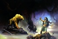 Картинка девушка, меч, воин, пещера, зверь