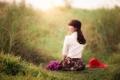 Картинка азиатка, поле, девушка, цветы, шляпка