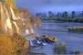 Картинка осень, лес, деревья, туман, река, камни, водопад