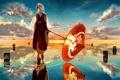 Картинка небо, вода, девушка, облака, закат, отражение, зонт
