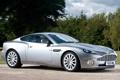 Картинка фон, Aston Martin, серебристый, суперкар, кусты, V12, передок