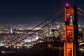 Картинка ночь, мост, город, огни, Сан-Франциско, photographer, Kenji Yamamura