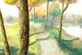 Картинка дорога, осень, деревья, природа, озеро, арт, dzun
