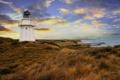 Картинка море, трава, вечер, берег, маяк