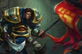 Картинка sword, armor, Warrior, flag, league of legends