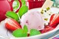 Картинка лето, клубника, мороженое, мята, десерт, вафли, джем