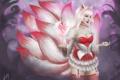 Картинка девушка, ушки, League of Legends, fanart, хвосты, LoL, Ahri