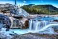 Картинка деревья, горы, река, камни, скалы, водопад, поток