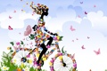 Картинка лето, небо, трава, девушка, облака, бабочки, цветы