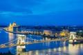 Картинка ночь, мост, огни, река, парламент, Венгрия, Будапешт