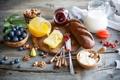 Картинка ягоды, молоко, хлеб, орехи, натюрморт, мёд, джем