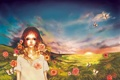 Картинка поле, лето, небо, девушка, бабочки, цветы, рассвет