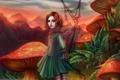Картинка грибы, девочка, мухоморы, Gracjana Zielinska