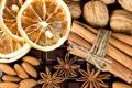 Картинка плитка, апельсин, шоколад, палочки, сухой, орехи, корица