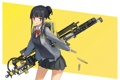 Картинка девушка, улыбка, оружие, аниме, арт, форма, школьница