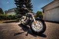 Картинка гараж, ворота, колесо, мотоцикл, байк, вилка
