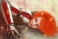 Картинка девушка, волосы, арт, рыжая, броня, mass effect, Shephard