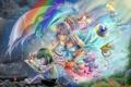 Картинка девушка, дождь, краски, зонт, мальчик, арт