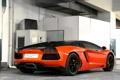 Картинка оранжевый, orange, lamborghini, система вентиляции, вид сзади, aventador, ламборгини