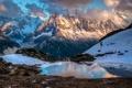 Картинка снег, горы, озеро, камни, скалы, Франция, ледник
