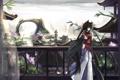 Картинка девушка, город, оружие, одежда, балкон, неко, ушки