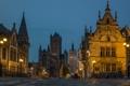 Картинка небо, вечер, Фландрия, огни, брусчатка, Бельгия, люди