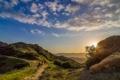 Картинка небо, пейзаж, закат, природа, всадники, ковбои, California