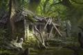 Картинка деревья, дом, болото, арт, заброшенный, руины