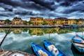 Картинка город, дома, лодки, канал