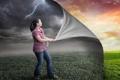 Картинка гроза, девушка, креатив, дождь, шатенка