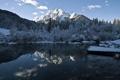 Картинка зима, пейзаж, горы, вечер, озеро