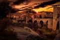 Картинка закат, Испания, Besalú
