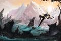 Картинка течение, лара крофт, Tomb raider, вода, море, волки, lara croft