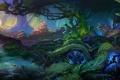 Картинка деревья, пейзаж, корни, ручей, растения, чаща, арт
