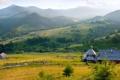 Картинка холмы, забор, деревня
