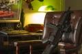 Картинка оружие, комната, кресло, пистолет-пулемёт, MP5