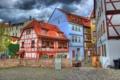 Картинка небо, облака, забор, дома, Германия, двор, курорт