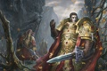 Картинка меч, ущелье, клинки, листья, домпехи, Warhammer 40 000, арт