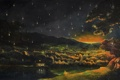 Картинка лес, небо, звезды, пейзаж, ночь, огни, озеро