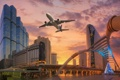 Картинка закат, город, самолёт