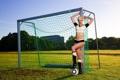 Картинка модель, мяч, ворота, блондинка, Susan Wayland
