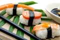 Картинка суши, рыба, роллы, рис, водоросли, листья, японская кухня