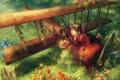 Картинка лес, цветы, самолет, корзина, девочка, фрукты, плющ